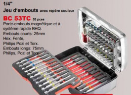 JET : Coffret embouts de vissage 53 pieces - emmanchement 1/4