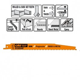 CMT :  lame scie sabre 200 mm coupe bois avec clous par 5