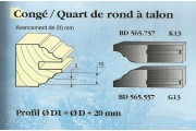 Le Ravageur : profil congé 1/4 de rond 20mm DOS 565557