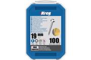 Kreg : Vis galvanisée 19 mm  filetage fin n ° 6, tête cylindrique, 100 unités
