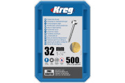 Kreg : Vis galvanisée 32 mm  filetage fin n ° 6, tête cylindrique, 500 unités